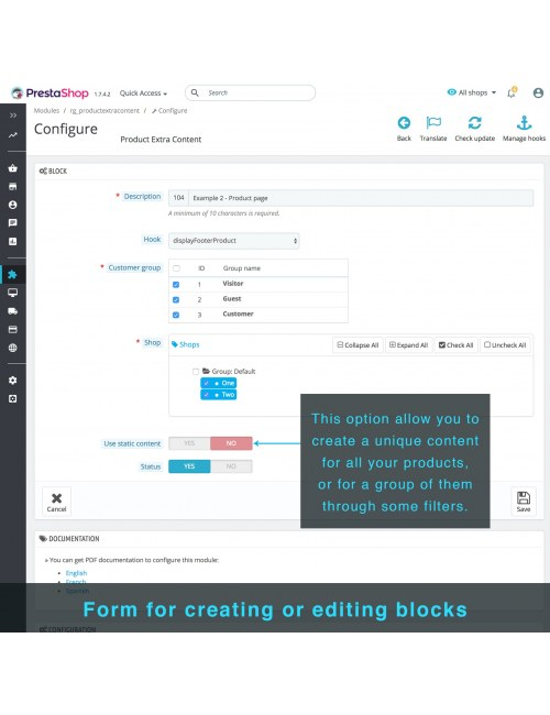 Blocks creation form of the module Product Extra Content