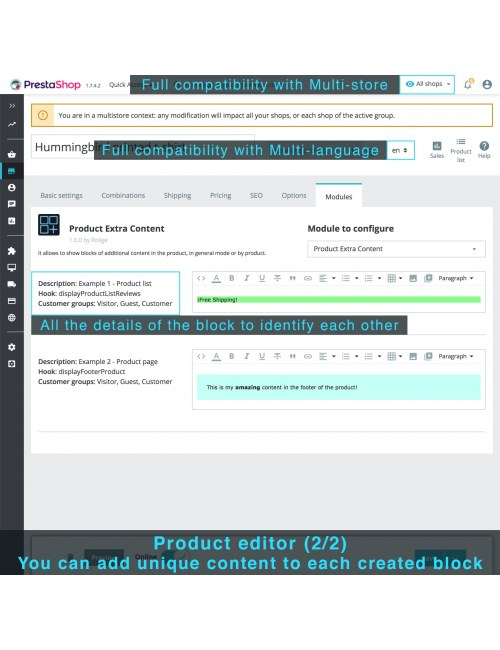 Content blocks in the product editor of the module Product Extra Content