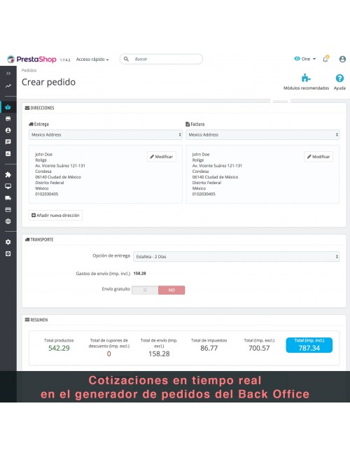 Admin order of the module Estafeta Carrier for PrestaShop