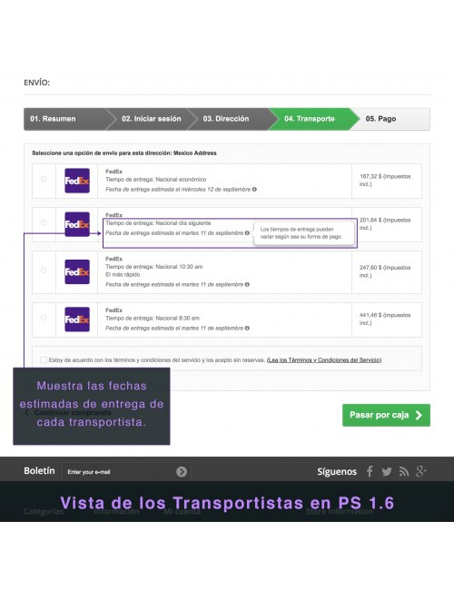 Services list of the module FedEx Carrier for PrestaShop 1.6