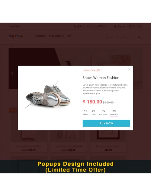 Limited time offer design of the module Smart Popup (Newsletter Popup) for PrestaShop