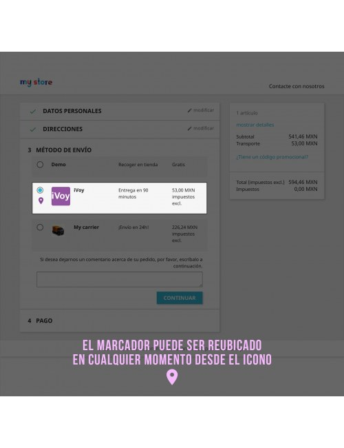 Services list of the module iVoy Carrier for PrestaShop