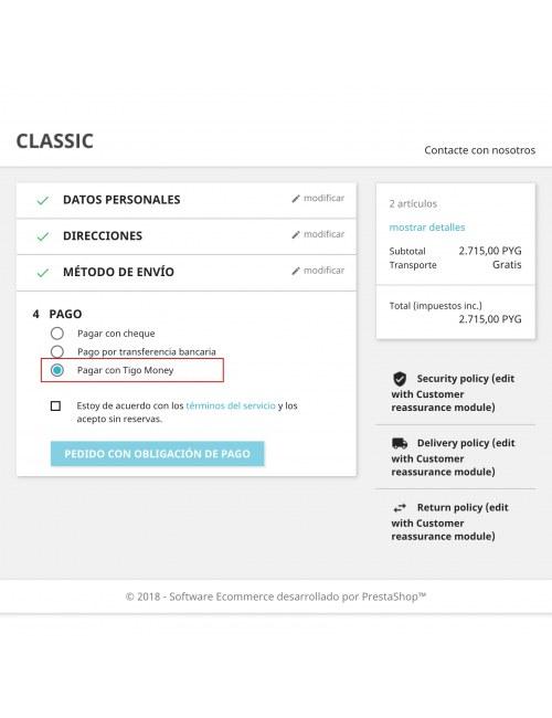Payment method of the module Tigo Money Paraguay for PrestaShop