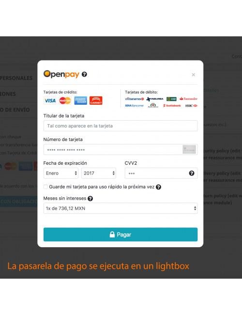 Payment gateway of the module Openpay Plus for PrestaShop
